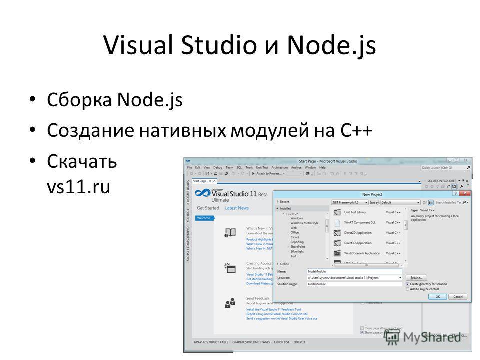 Visual Studio и Node.js Сборка Node.js Создание нативных модулей на C++ Скачать vs11.ru