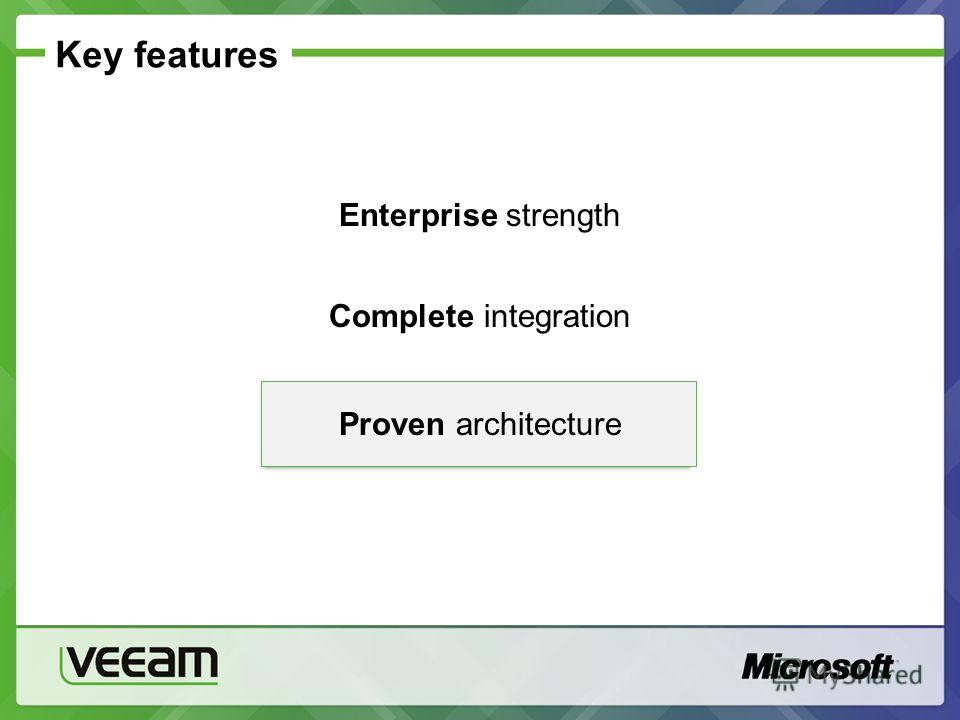 Key features Enterprise strength Complete integration Proven architecture