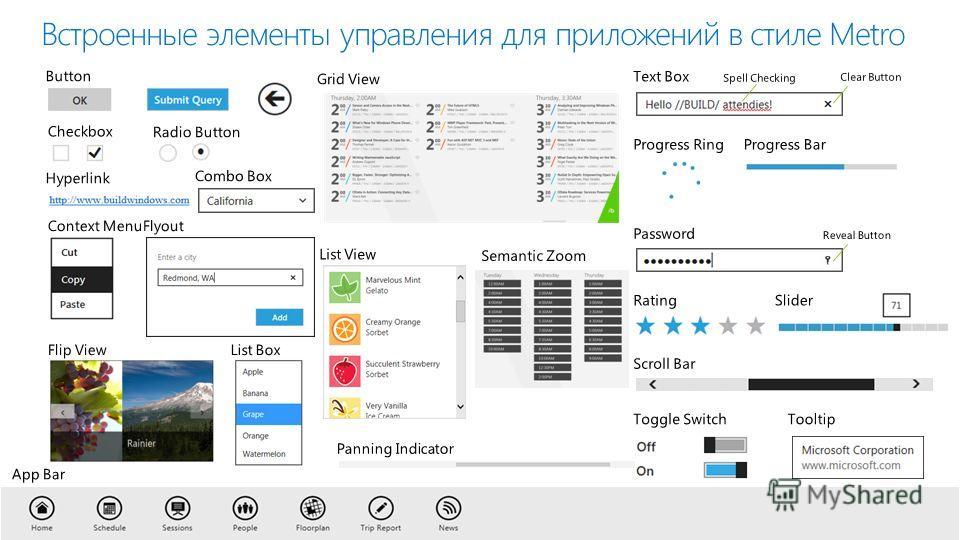 Встроенные элементы управления для приложений в стиле Metro
