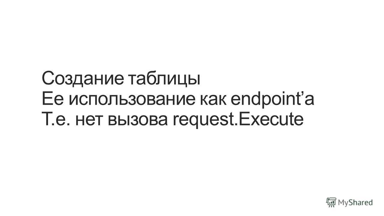 Создание таблицы Ее использование как endpointа Т.е. нет вызова request.Execute