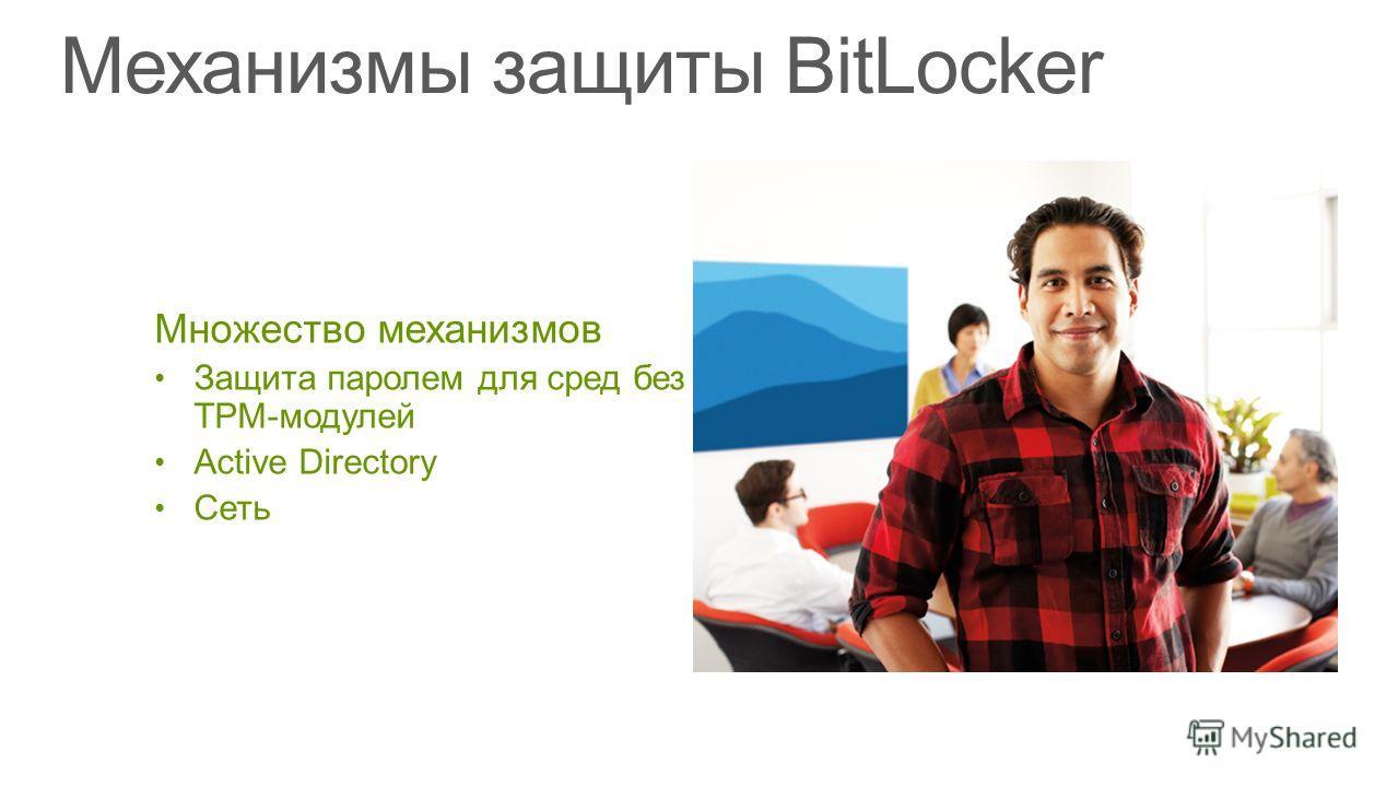 Множество механизмов Защита паролем для сред без TPM-модулей Active Directory Сеть