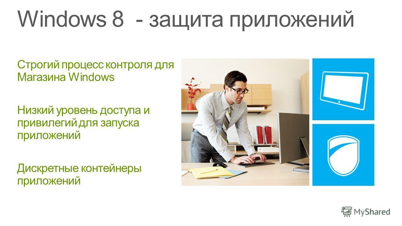 Строгий процесс контроля для Магазина Windows Низкий уровень доступа и привилегий для запуска приложений Дискретные контейнеры приложений