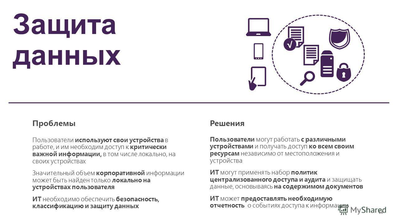 Защита данных ПроблемыРешения Пользователи используют свои устройства в работе, и им необходим доступ к критически важной информации, в том числе локально, на своих устройствах Значительный объем корпоративной информации может быть найден только лока