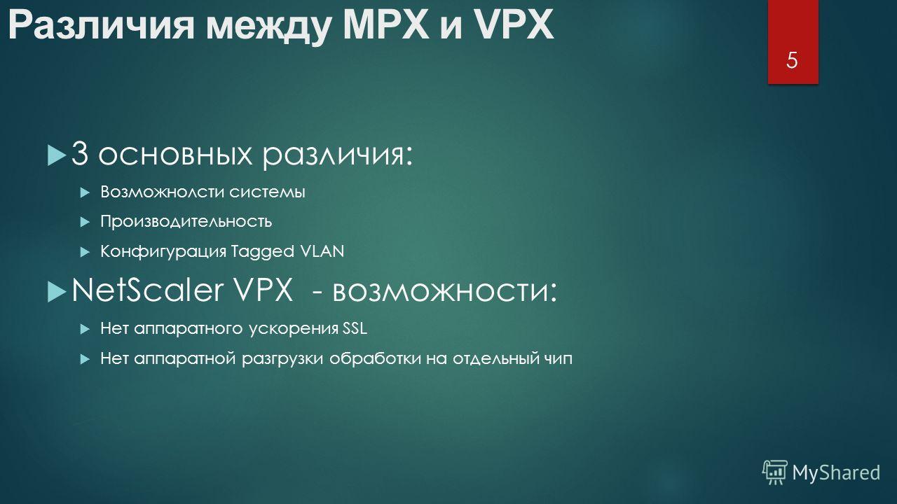 3 основных различия: Возможнолсти системы Производительность Конфигурация Tagged VLAN NetScaler VPX - возможности: Нет аппаратного ускорения SSL Нет аппаратной разгрузки обработки на отдельный чип Различия между MPX и VPX 5