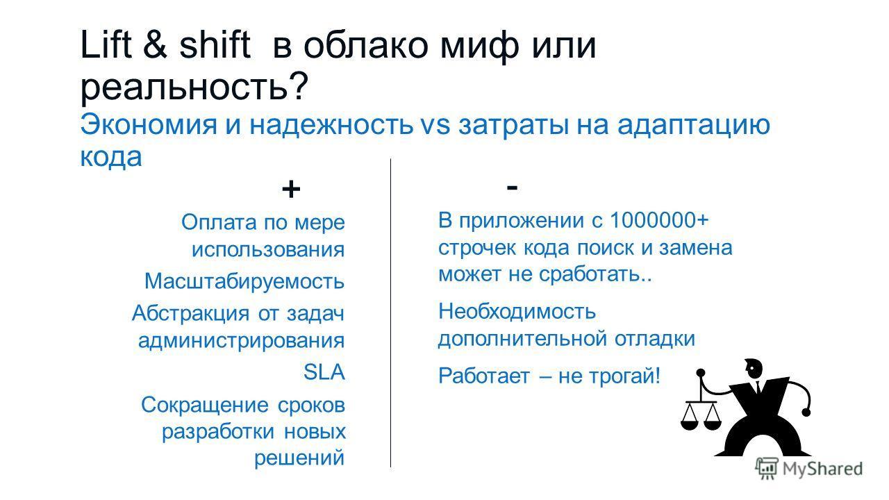 Lift & shift в облако миф или реальность? Экономия и надежность vs затраты на адаптацию кода + Оплата по мере использования Масштабируемость Абстракция от задач администрирования SLA Сокращение сроков разработки новых решений - В приложении с 1000000