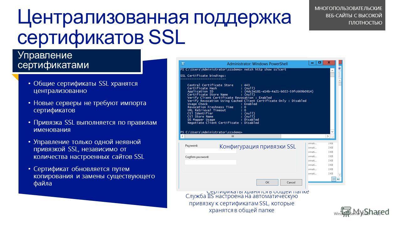 || Общие сертификаты SSL хранятсяцентрализованно Новые серверы не требуют импортасертификатов Привязка SSL выполняется по правиламименования Управление только одной неявнойпривязкой SSL, независимо отколичества настроенных сайтов SSL Сертификат обнов