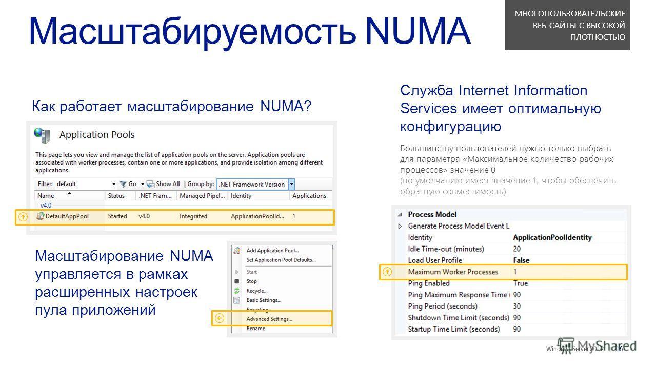 || Масштабируемость NUMA Как работает масштабирование NUMA? Масштабирование NUMA управляется в рамках расширенных настроек пула приложений Служба Internet Information Services имеет оптимальную конфигурацию Большинству пользователей нужно только выбр