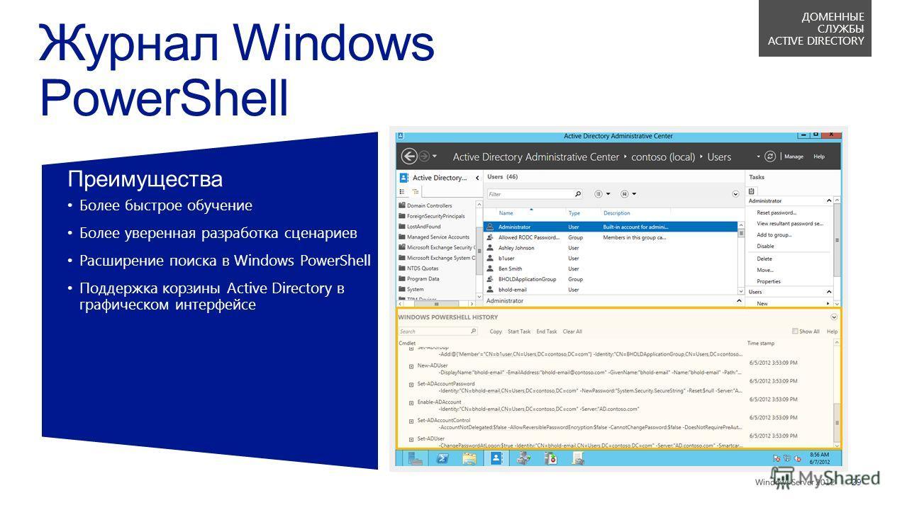 || Преимущества Более быстрое обучение Более уверенная разработка сценариев Расширение поиска в Windows PowerShell Поддержка корзины Active Directory вграфическом интерфейсе 29 ДОМЕННЫЕ СЛУЖБЫ ACTIVE DIRECTORY