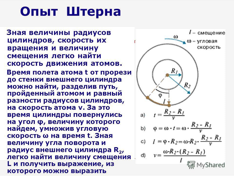 Опыт Штерна Зная величины радиусов цилиндров, скорость их вращения и величину смещения легко найти скорость движения атомов. Время полета атома t от прорези до стенки внешнего цилиндра можно найти, разделив путь, пройденный атомом и равный разности р