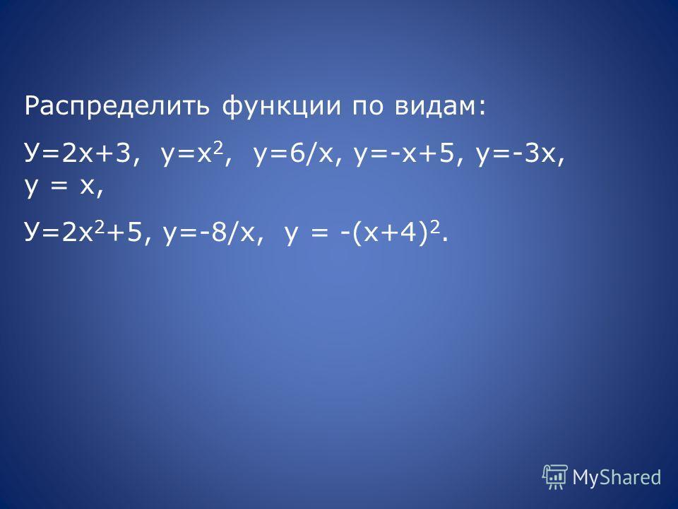Распределить функции по видам: У=2х+3, у=х 2, у=6/х, у=-х+5, у=-3х, у = х, У=2х 2 +5, у=-8/х, у = -(х+4) 2.