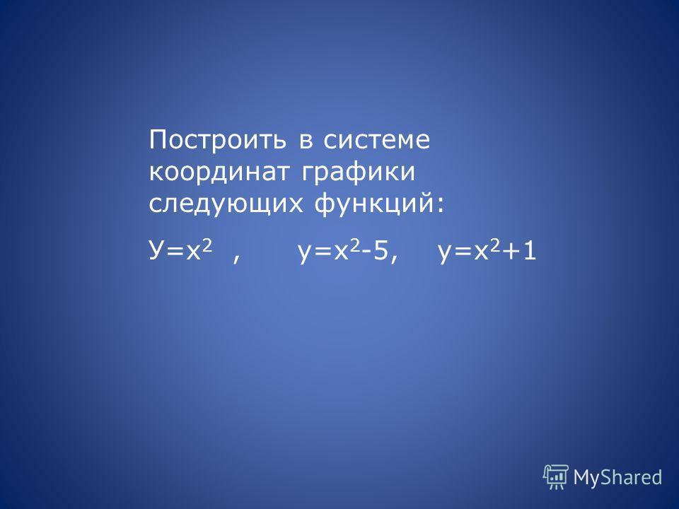 Построить в системе координат графики следующих функций: У=х 2, у=х 2 -5, у=х 2 +1