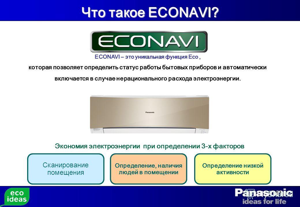 11 Что такое ECONAVI? ECONAVI – это уникальная функция Eco, которая позволяет определить статус работы бытовых приборов и автоматически включается в случае нерационального расхода электроэнергии. Экономия электроэнергии при определении 3-х факторов С