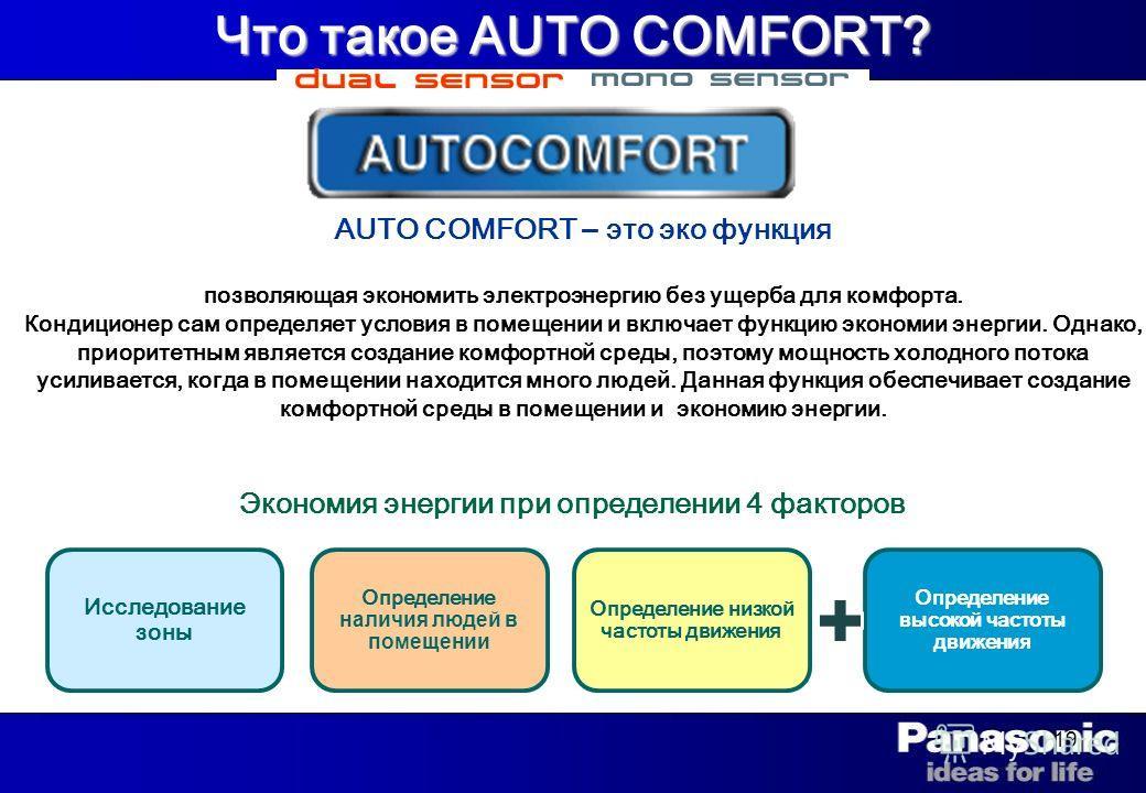 19 Что такое AUTO COMFORT? AUTO COMFORT – это эко функция позволяющая экономить электроэнергию без ущерба для комфорта. Кондиционер сам определяет условия в помещении и включает функцию экономии энергии. Однако, приоритетным является создание комфорт