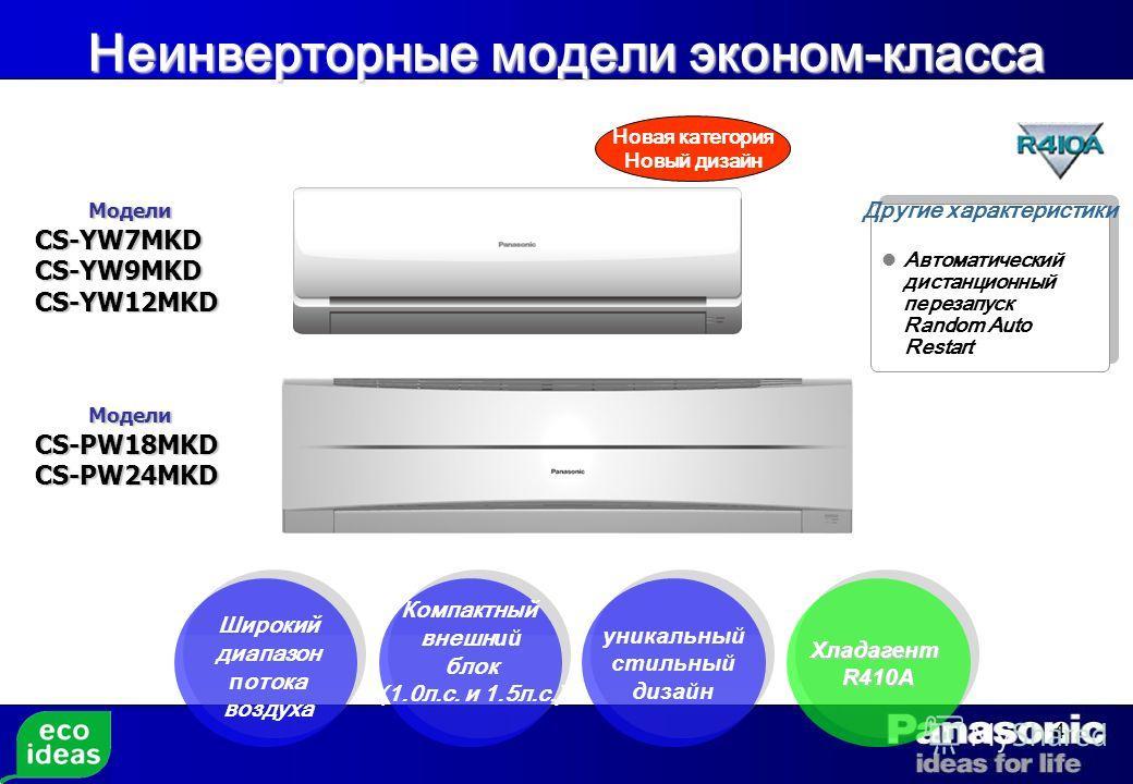 4 Модели МоделиCS-YW7MKDCS-YW9MKDCS-YW12MKD Широкий диапазон п отока воздуха Компактный внешн ий блок (1.0л.с. и 1.5л.с.) уникальный стильный дизайн Автоматический дистанционный перезапуск Random Auto Restart Другие характеристики Модели МоделиCS-PW1