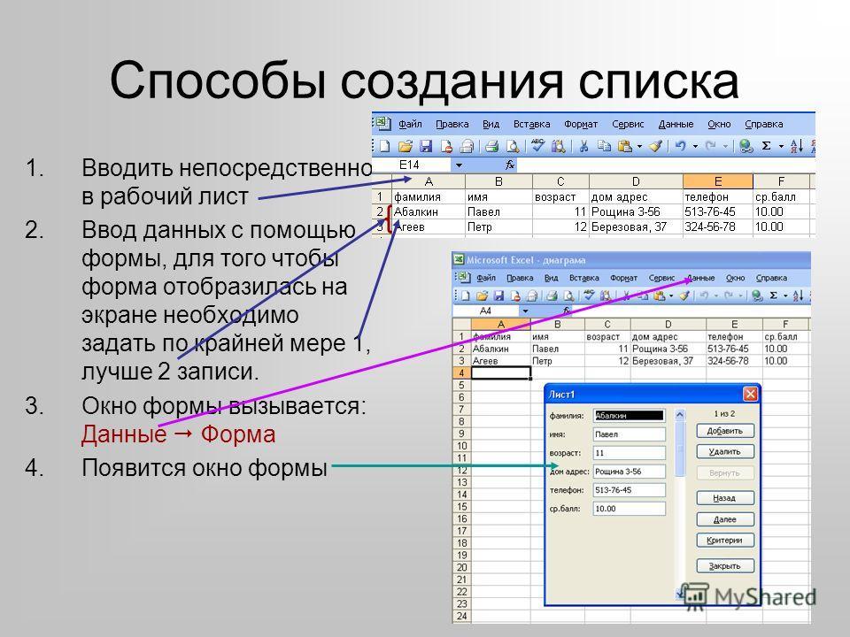 Способы создания списка 1.Вводить непосредственно в рабочий лист 2.Ввод данных с помощью формы, для того чтобы форма отобразилась на экране необходимо задать по крайней мере 1, лучше 2 записи. 3.Окно формы вызывается: Данные Форма 4.Появится окно фор