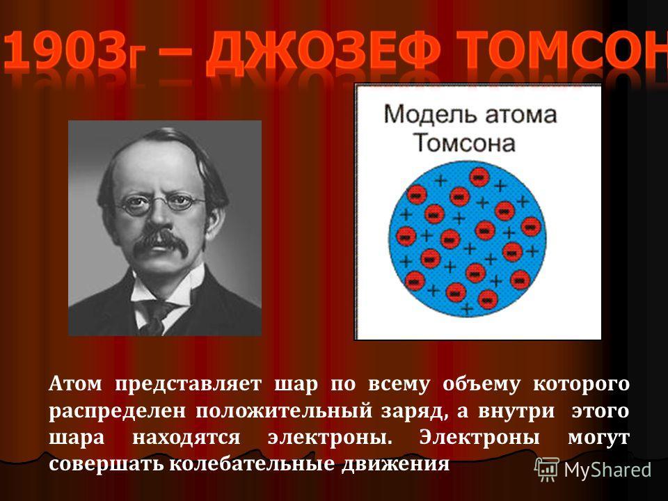Атом представляет шар по всему объему которого распределен положительный заряд, а внутри этого шара находятся электроны. Электроны могут совершать колебательные движения