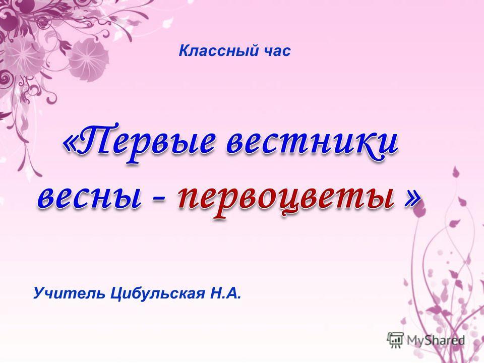 Учитель Цибульская Н.А. Классный час