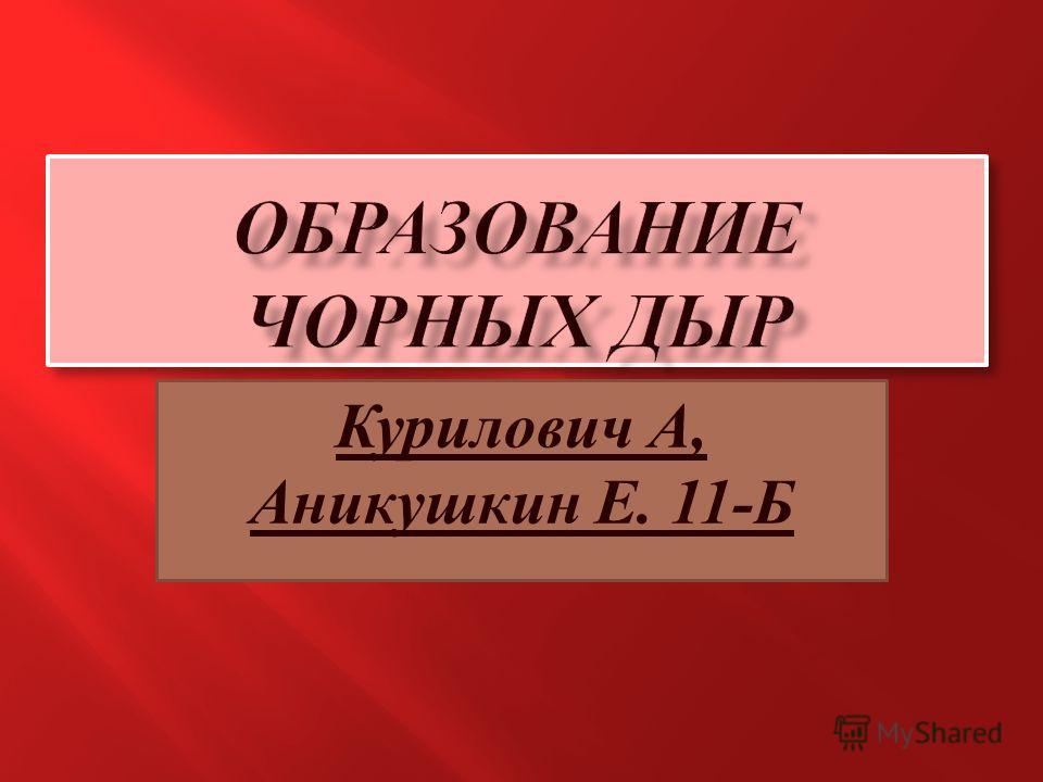 Курилович А, Аникушкин Е. 11-Б