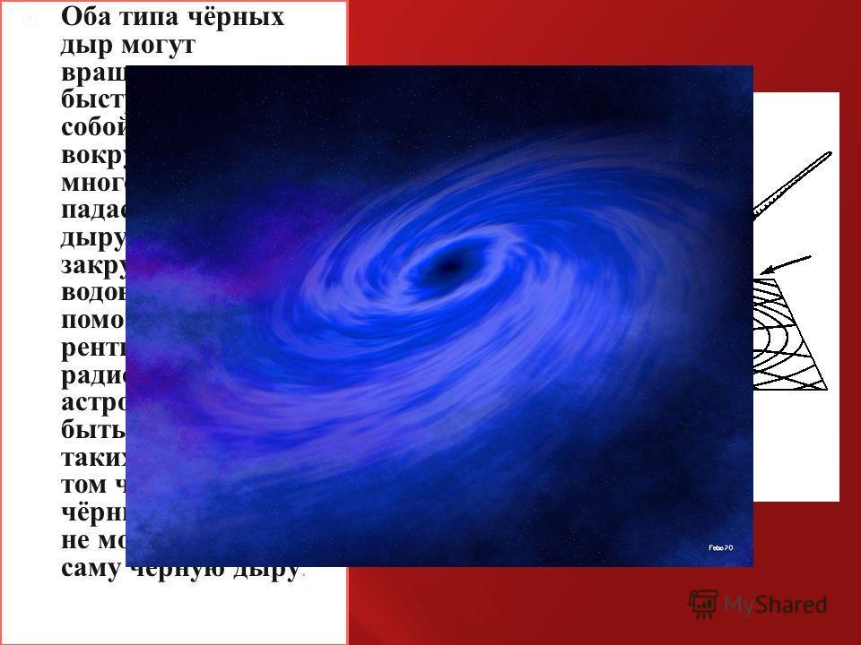 Оба типа чёрных дыр могут вращаться очень быстро, увлекая за собой пространство вокруг них. Когда много вещества падает на чёрную дыру, оно закручивается как в водовороте. С помощью рентгеновских и радио-наблюдений астрономы могут быть свидетелями та