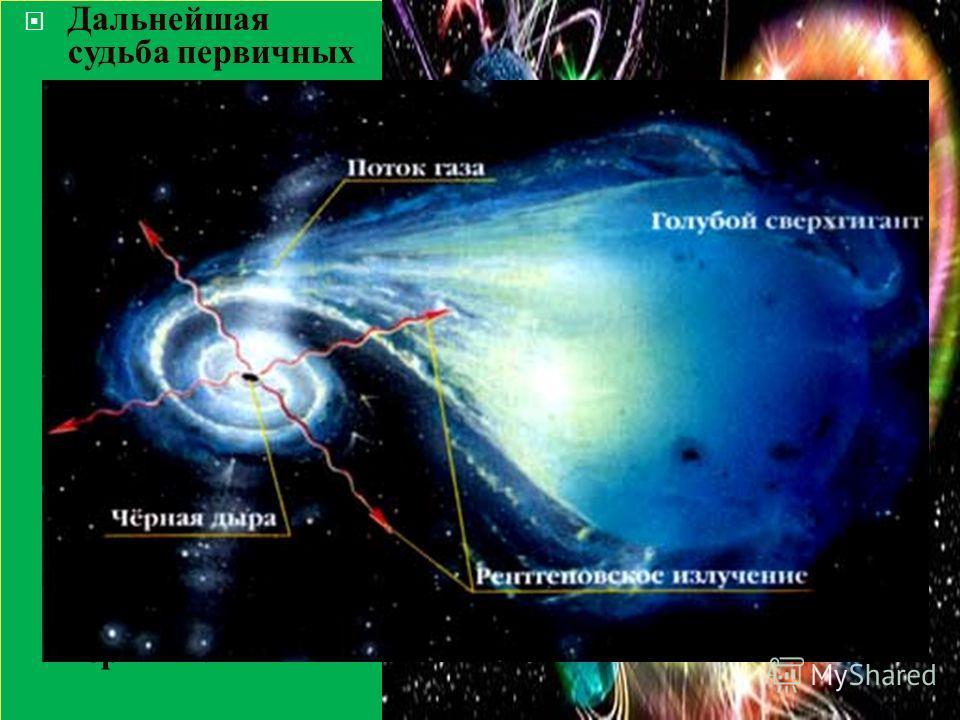 Дальнейшая судьба первичных черных дыр зависит от их массы. Черные дыры с массой от 1015 до 1033 г могли бы доживать до настоящего времени и оказаться живыми свидетелями процессов, происходивших во времени 10-2310- 5 с после большого взрыва.