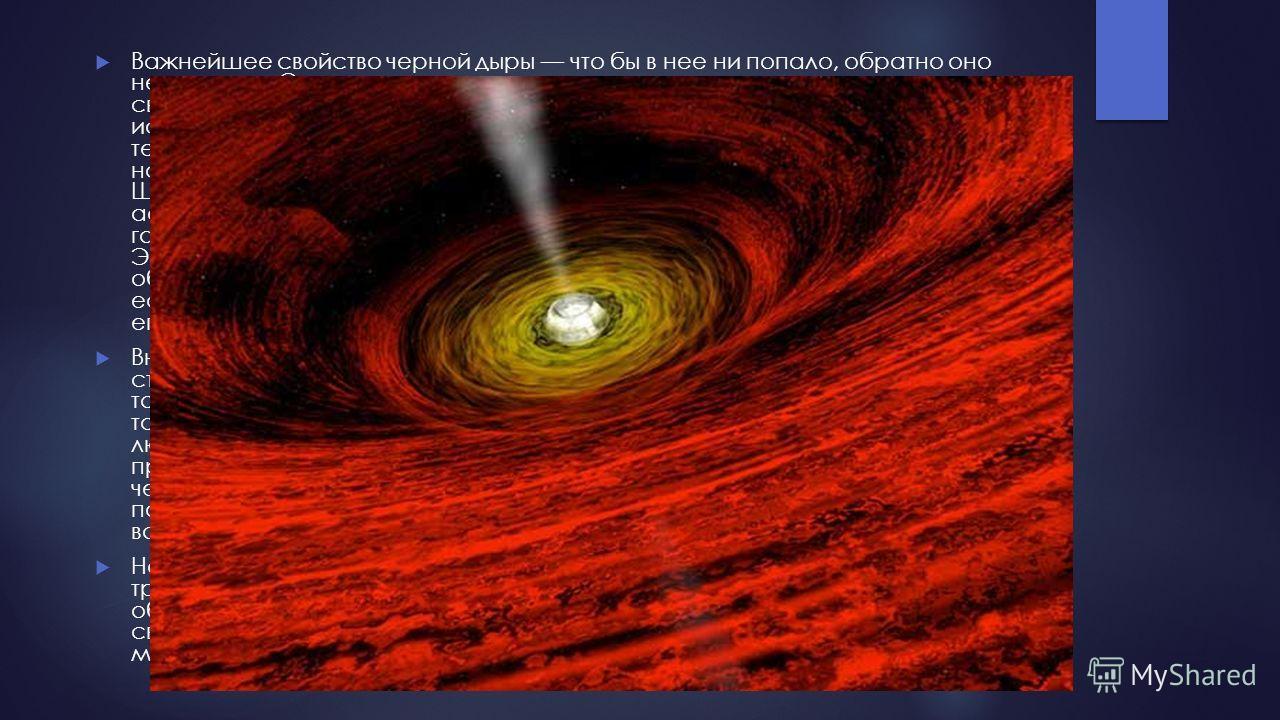 Важнейшее свойство черной дыры что бы в нее ни попало, обратно оно не вернется. Это касается даже света, вот почему черные дыры и получили свое название: тело, поглощающее весь свет, падающий на него, и не испускающее собственного кажется абсолютно ч