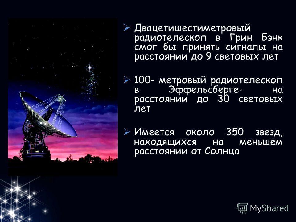 Двацетишестиметровый радиотелескоп в Грин Бэнк смог бы принять сигналы на расстоянии до 9 световых лет 100- метровый радиотелескоп в Эффельсберге- на расстоянии до 30 световых лет Имеется около 350 звезд, находящихся на меньшем расстоянии от Солнца