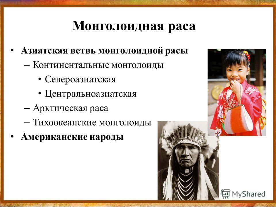Монголоидная раса Азиатская ветвь монголоидной расы – Континентальные монголоиды Североазиатская Центральноазиатская – Арктическая раса – Тихоокеанские монголоиды Американские народы