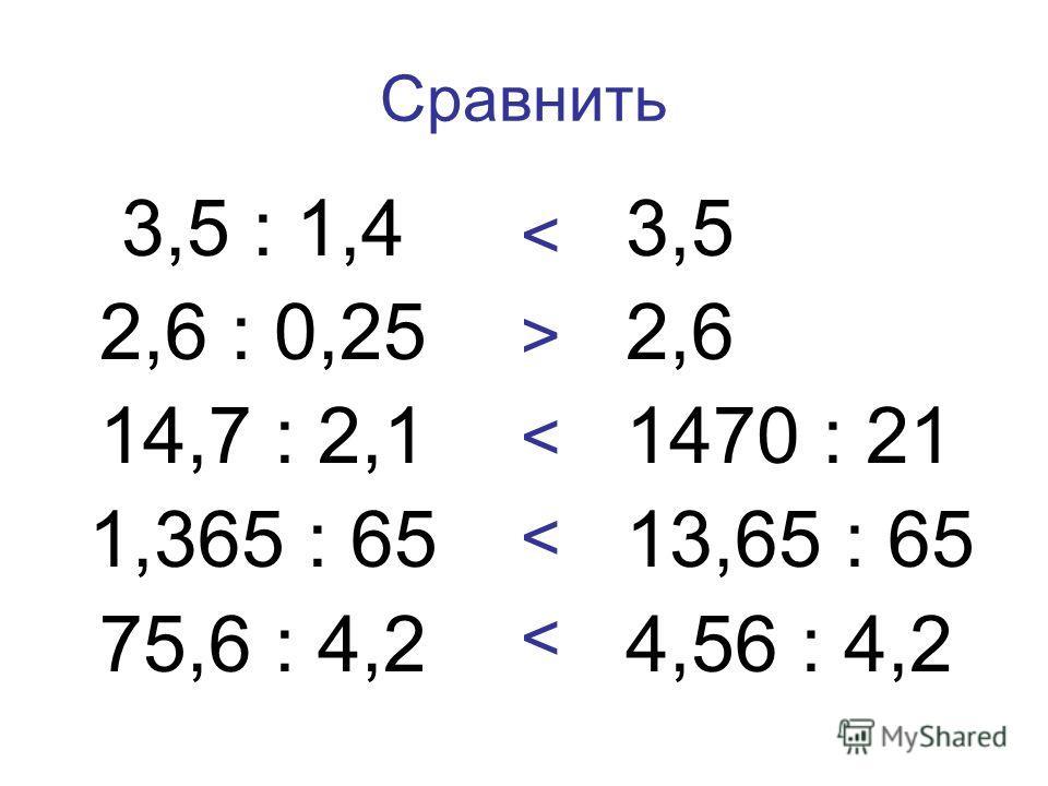 Сравнить 3,5 : 1,4 2,6 : 0,25 14,7 : 2,1 1,365 : 65 75,6 : 4,2 3,5 2,6 1470 : 21 13,65 : 65 4,56 : 4,2 < > < <