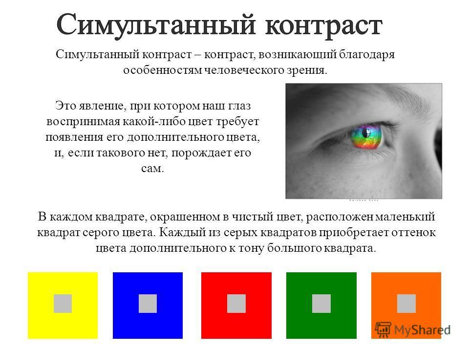 Это явление, при котором наш глаз воспринимая какой-либо цвет требует появления его дополнительного цвета, и, если такового нет, порождает его сам. Симультанный контраст – контраст, возникающий благодаря особенностям человеческого зрения. В каждом кв