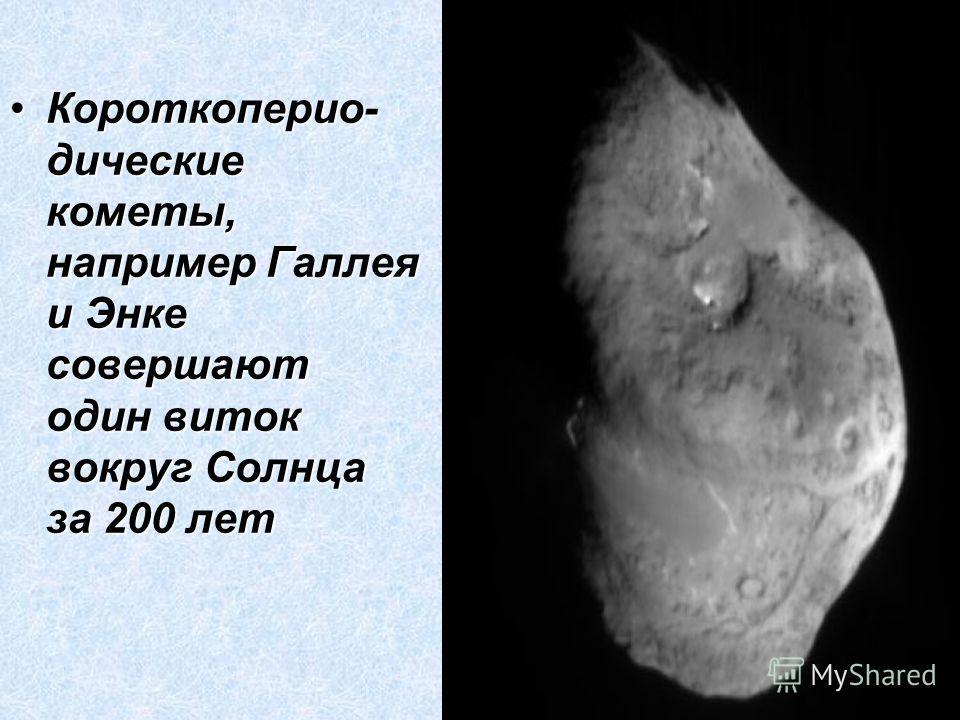 Короткоперио- дические кометы, например Галлея и Энке совершают один виток вокруг Солнца за 200 летКороткоперио- дические кометы, например Галлея и Энке совершают один виток вокруг Солнца за 200 лет
