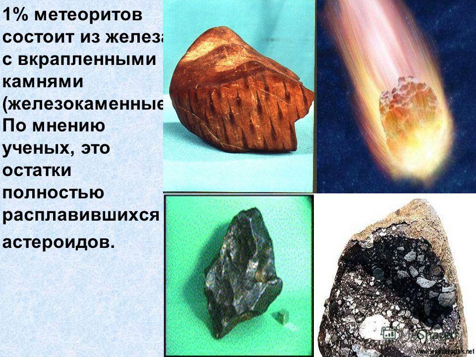 1% метеоритов состоит из железа с вкрапленными камнями (железокаменные) По мнению ученых, это остатки полностью расплавившихся астероидов.