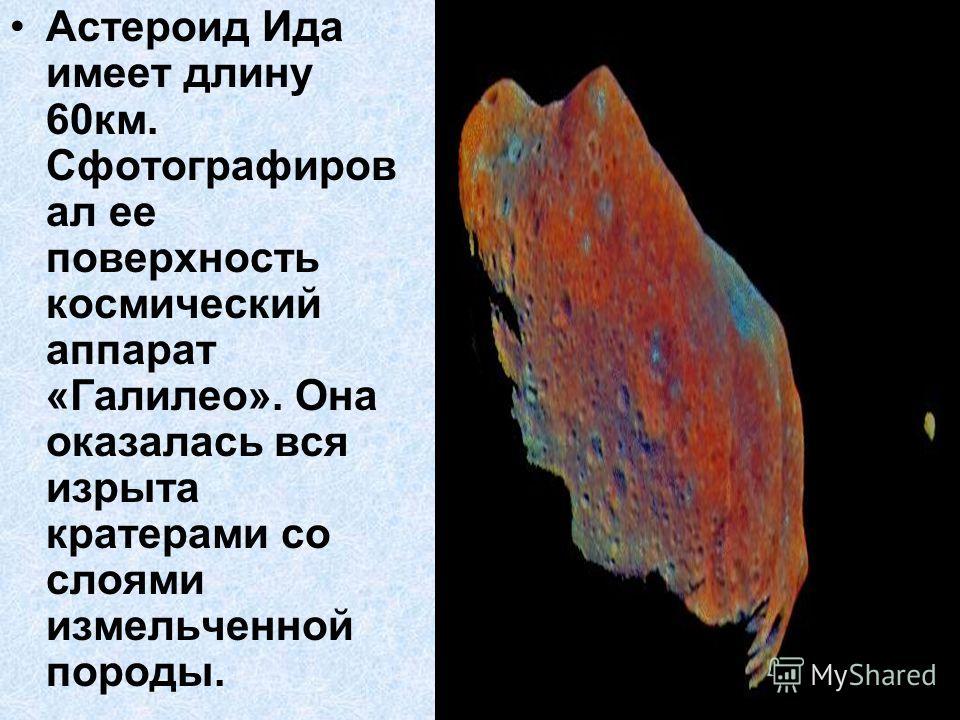 Астероид Ида имеет длину 60км. Сфотографиров ал ее поверхность космический аппарат «Галилео». Она оказалась вся изрыта кратерами со слоями измельченной породы.