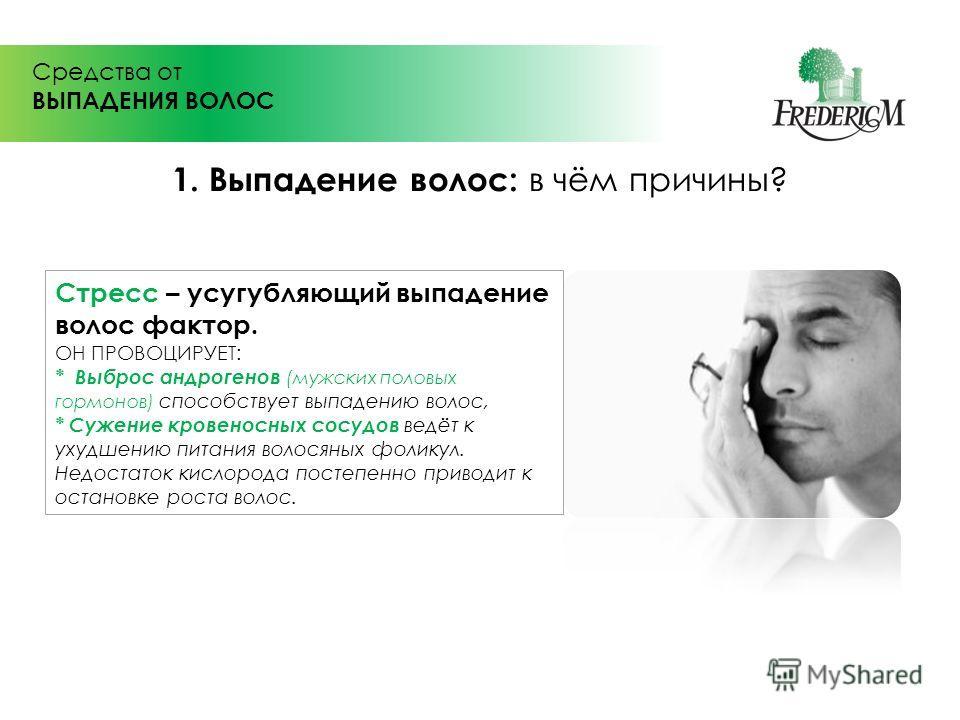 Средства от ВЫПАДЕНИЯ ВОЛОС Стресс – усугубляющий выпадение волос фактор. ОН ПРОВОЦИРУЕТ: * Выброс андрогенов (мужских половых гормонов) способствует выпадению волос, * Сужение кровеносных сосудов ведёт к ухудшению питания волосяных фоликул. Недостат