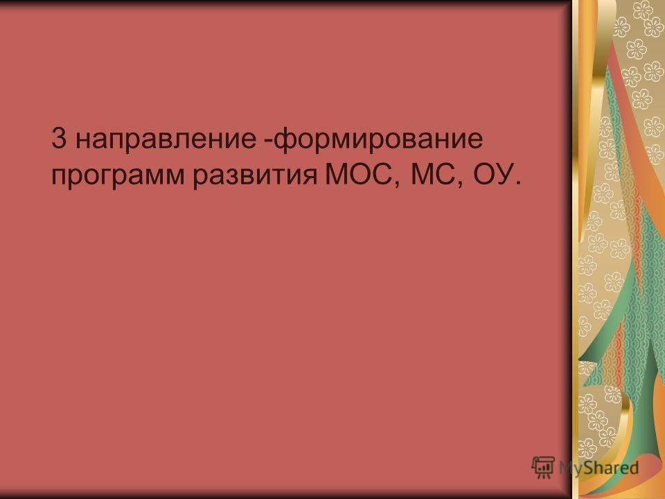 3 направление -формирование программ развития МОС, МС, ОУ.