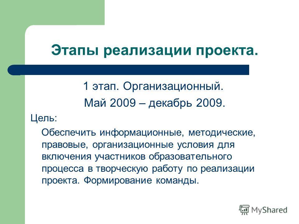 Этапы реализации проекта. 1 этап. Организационный. Май 2009 – декабрь 2009. Цель: Обеспечить информационные, методические, правовые, организационные условия для включения участников образовательного процесса в творческую работу по реализации проекта.