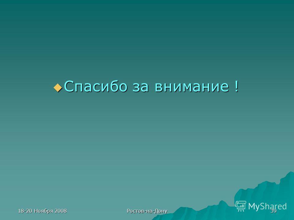 18-20 Ноября 2008 Ростов-на-Дону 39 Спасибо за внимание ! Спасибо за внимание !