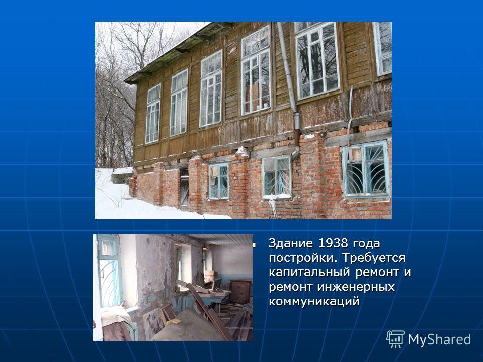 Здание 1938 года постройки. Требуется капитальный ремонт и ремонт инженерных коммуникаций Здание 1938 года постройки. Требуется капитальный ремонт и ремонт инженерных коммуникаций