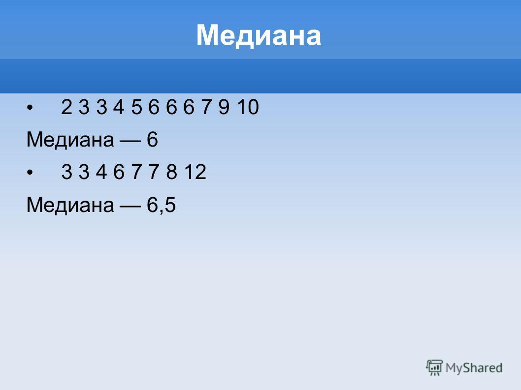 Медиана 2 3 3 4 5 6 6 6 7 9 10 Медиана 6 3 3 4 6 7 7 8 12 Медиана 6,5