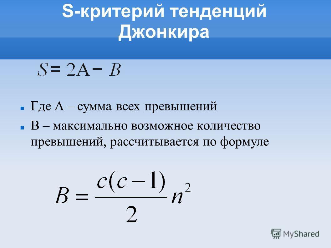 S-критерий тенденций Джонкира Где A – сумма всех превышений B – максимально возможное количество превышений, рассчитывается по формуле
