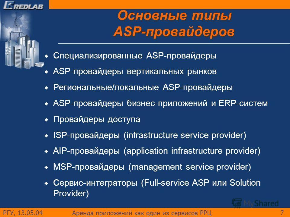 РГУ, 13.05.04Аренда приложений как один из сервисов РРЦ7 Основные типы ASP-провайдеров Специализированные ASP-провайдеры ASP-провайдеры вертикальных рынков Региональные/локальные ASP-провайдеры ASP-провайдеры бизнес-приложений и ERP-систем Провайдеры