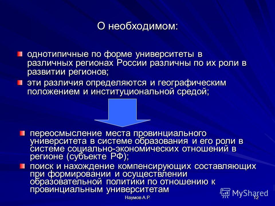 Наумов А.Р. 12 О необходимом: однотипичные по форме университеты в различных регионах России различны по их роли в развитии регионов; эти различия определяются и географическим положением и институциональной средой; переосмысление места провинциально