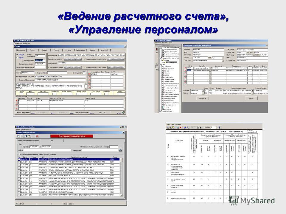 «Ведение расчетного счета», «Управление персоналом»