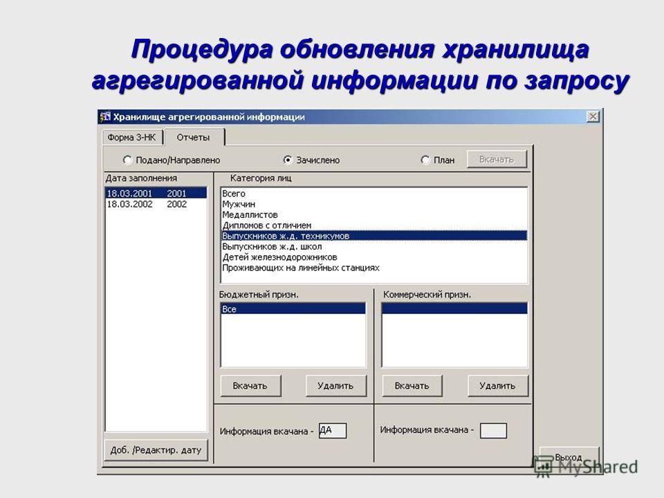 Процедура обновления хранилища агрегированной информации по запросу