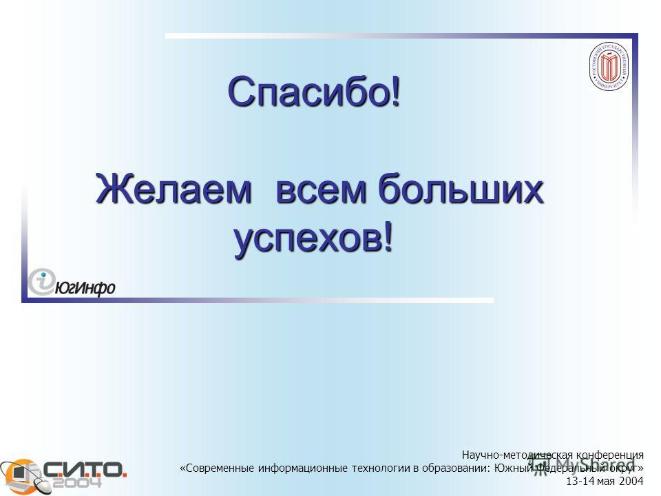 Научно-методическая конференция «Современные информационные технологии в образовании: Южный Федеральный округ» 13-14 мая 2004 Спасибо! Желаем всем больших успехов!