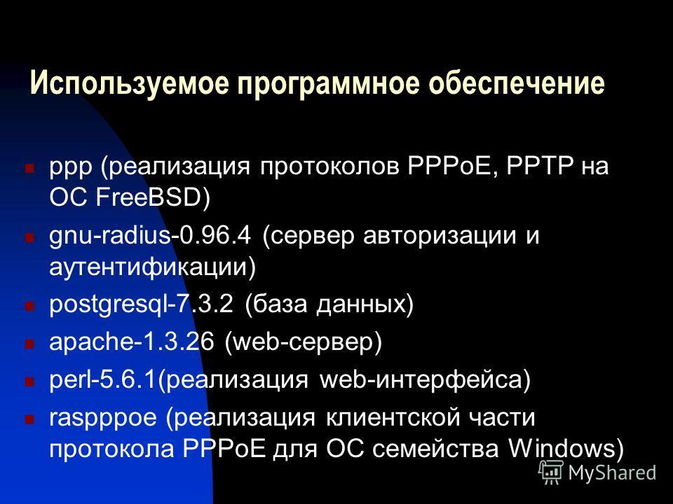 Используемое программное обеспечение ppp (реализация протоколов PPPoE, PPTP на ОС FreeBSD) gnu-radius-0.96.4 (сервер авторизации и аутентификации) postgresql-7.3.2 (база данных) apache-1.3.26 (web-сервер) perl-5.6.1(реализация web-интерфейса) raspppo