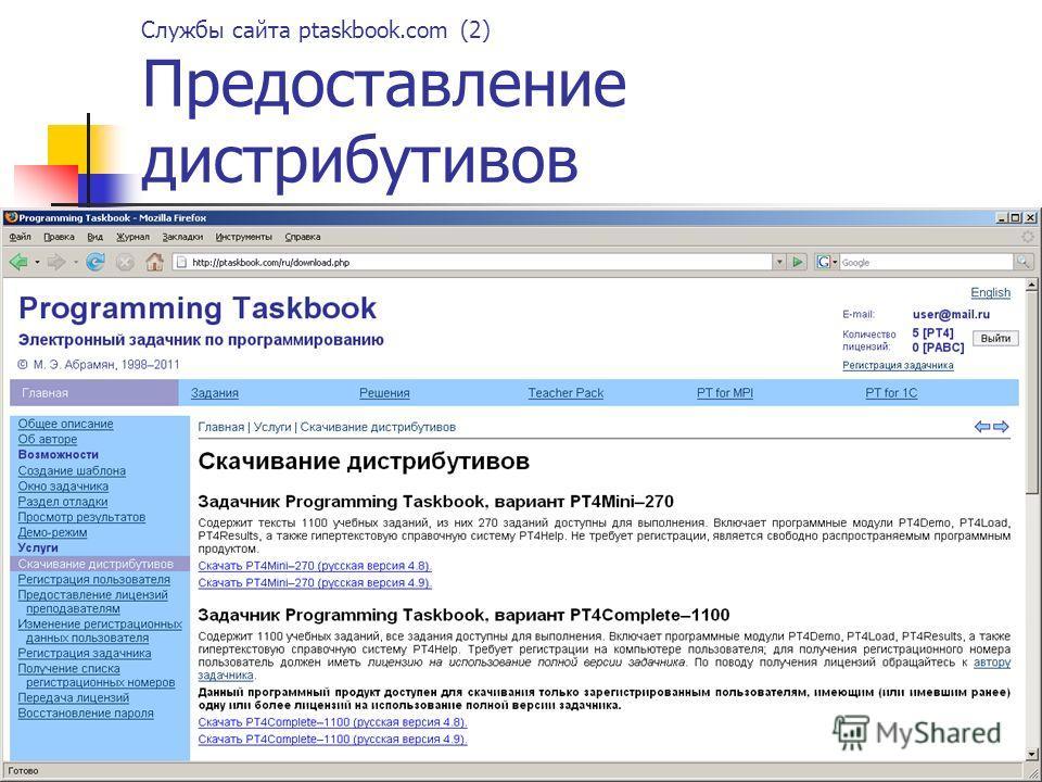 Службы сайта ptaskbook.com (2) Предоставление дистрибутивов