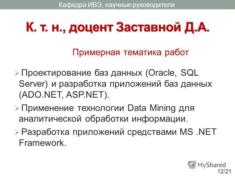 К. т. н., доцент Заставной Д.А. Проектирование баз данных (Oracle, SQL Server) и разработка приложений баз данных (ADO.NET, ASP.NET). Применение технологии Data Mining для аналитической обработки информации. Разработка приложений средствами MS.NET Fr
