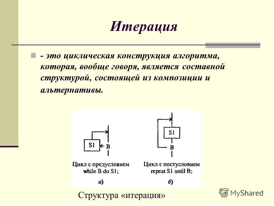 Итерация - это циклическая конструкция алгоритма, которая, вообще говоря, является составной структурой, состоящей из композиции и альтернативы. Структура «итерация»