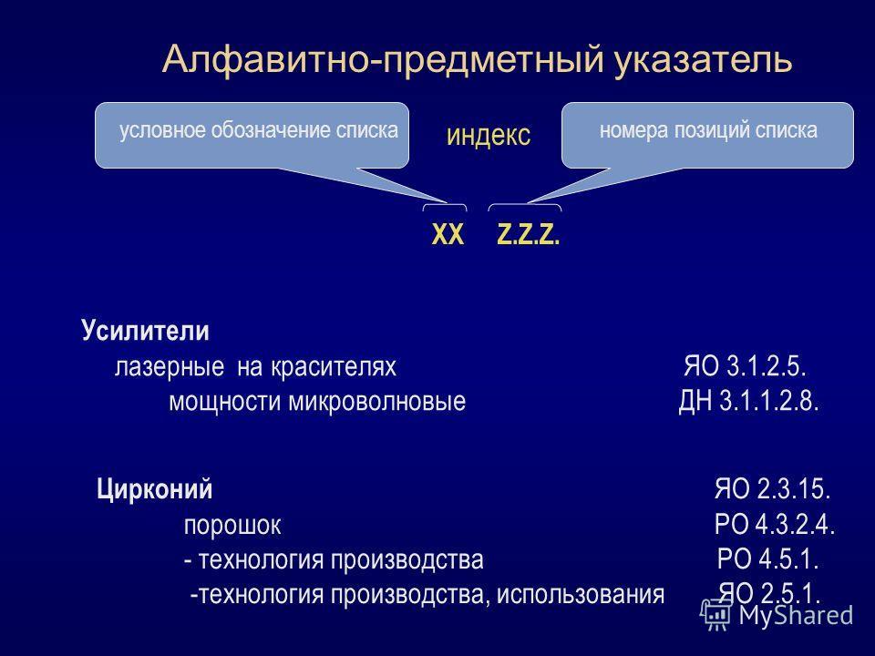 Алфавитно-предметный указатель условное обозначение списканомера позиций списка ХХ Z.Z.Z. индекс Усилители лазерные на красителях ЯО 3.1.2.5. мощности микроволновые ДН 3.1.1.2.8. Цирконий ЯО 2.3.15. порошок РО 4.3.2.4. - технология производства РО 4.