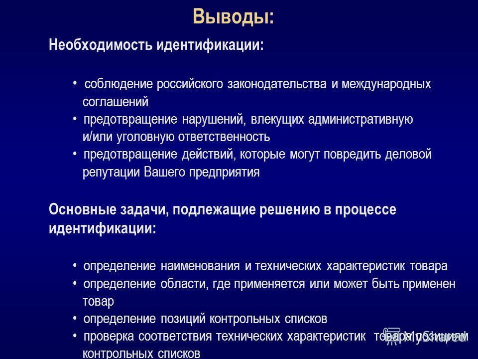 Выводы: Необходимость идентификации: соблюдение российского законодательства и международных соглашений предотвращение нарушений, влекущих административную и/или уголовную ответственность предотвращение действий, которые могут повредить деловой репут